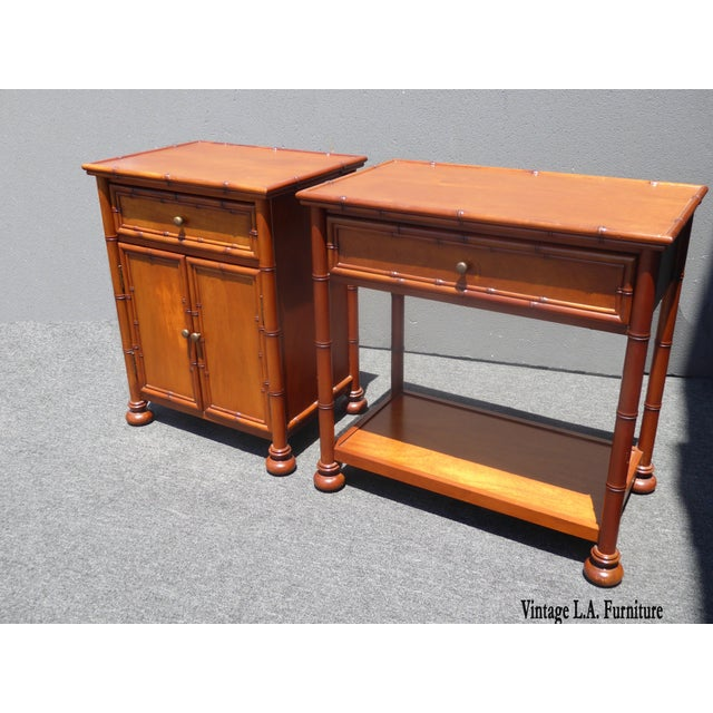 Two Vintage Restoration Hardware Tiki Palm Beach Style Carved Wood Nightstands. Gorgeous Nightstands in Great Condition....