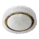 Image of Flush-Mount Eisglas and Brass Chandelier by Doria Leuchten For Sale
