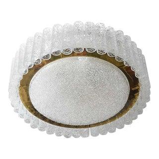 Flush-Mount Eisglas and Brass Chandelier by Doria Leuchten For Sale
