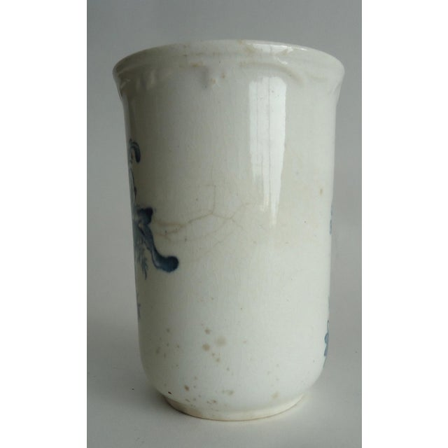 20th Century Shabby Chic Blue & White Stoneware Floral Vase For Sale - Image 4 of 7