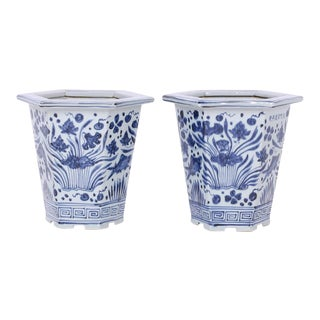 Chinese Export Style Blue and White Porcelain Planters - A Pair For Sale