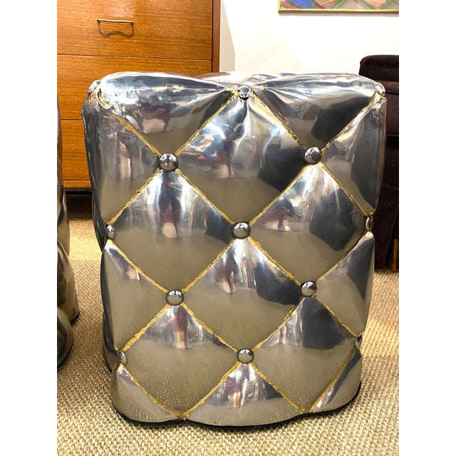 Industrial Vintage Pair of Metal Welded Tufts Ottomans Poufs Foot Stools Silver Gold Industrial For Sale - Image 3 of 9