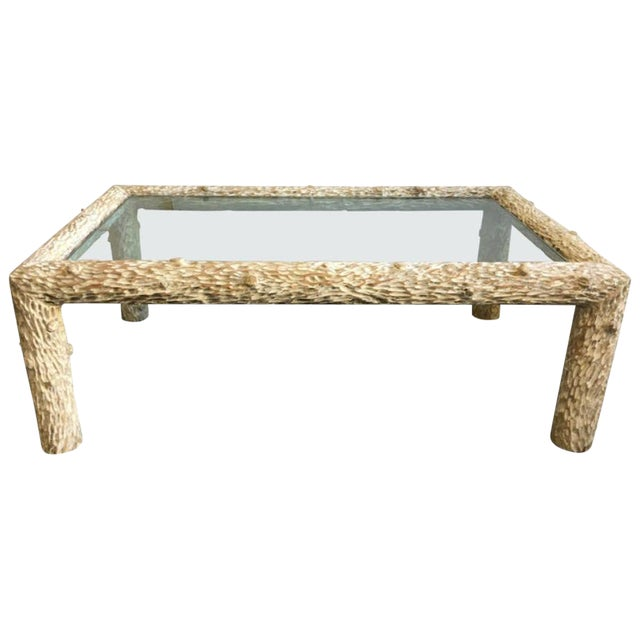 Organic Carved Wood and Glass Top Coffee Table For Sale