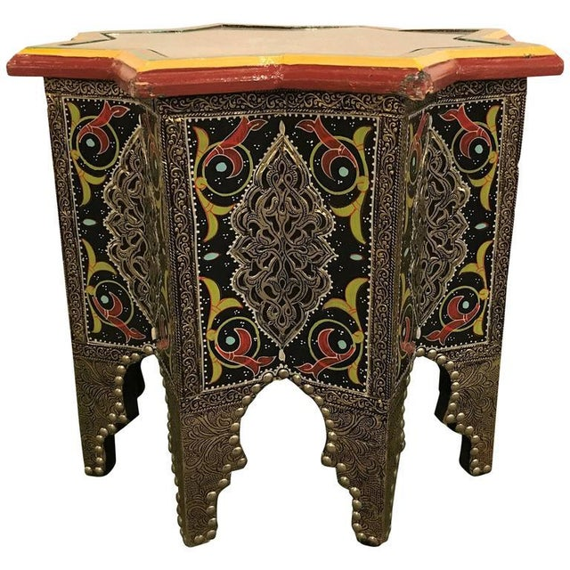 Star-Shaped End Table or Footstool With Ebony Inlays For Sale - Image 9 of 9