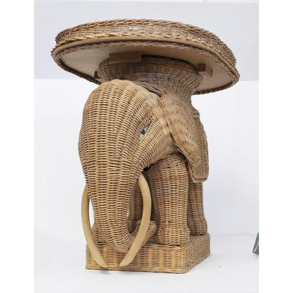 1960s 1970s Vintage Wicker Elephant Side Tray TableBoho For Sale - Image 5 of 8