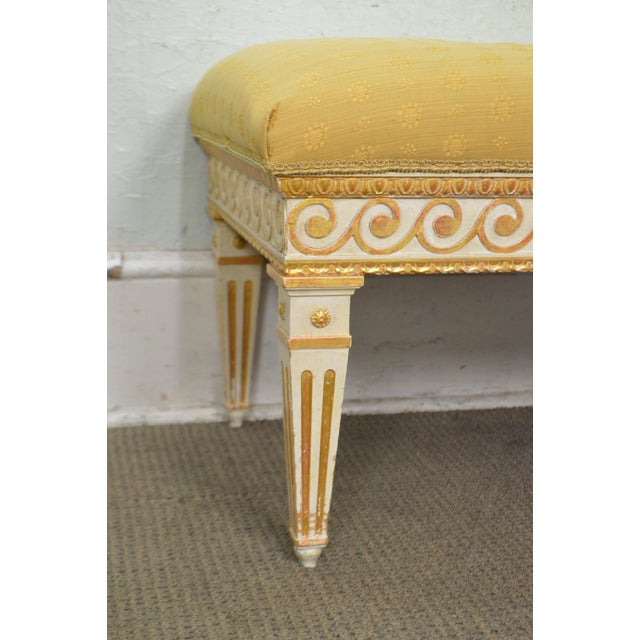 Vintage Regency Style Gilt Painted Wood Tufted Window Bench For Sale In Philadelphia - Image 6 of 10
