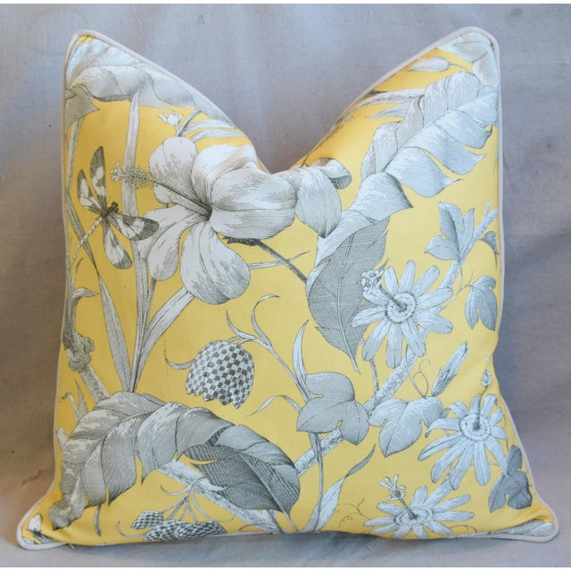 """Designer English Floral & Nature Linen/Velvet Feather & Down Pillow 24"""" Square For Sale - Image 4 of 5"""