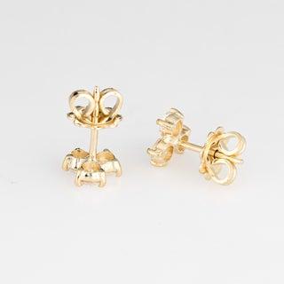 Vintage 3 Stone Diamond Stud 18 Karat Yellow Gold Earrings Preview