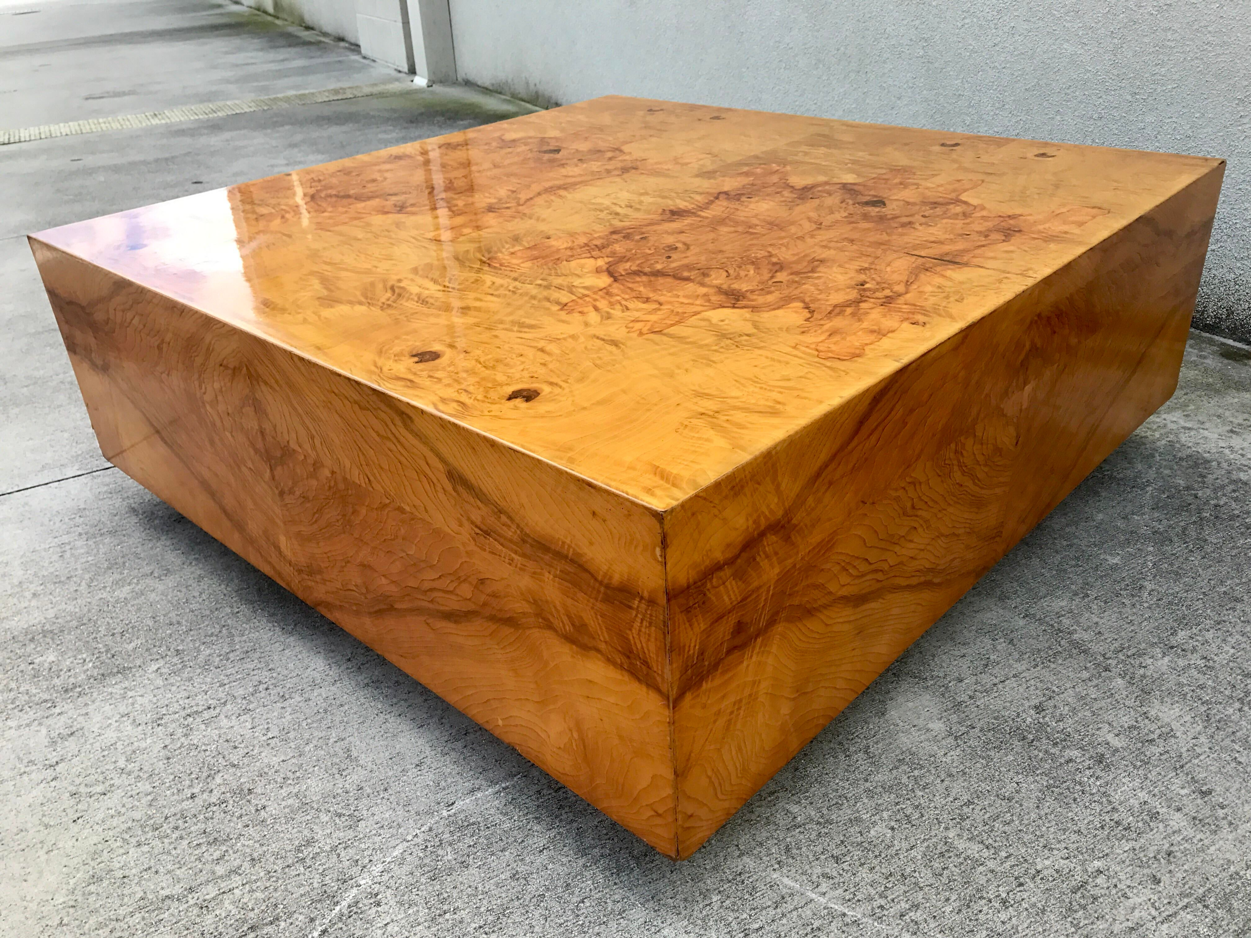 Milo Baughman Burl Wood Coffee Table Chairish