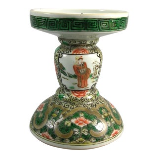 19th Century Chinese Famille-Verte Porcelain Candle Holder For Sale