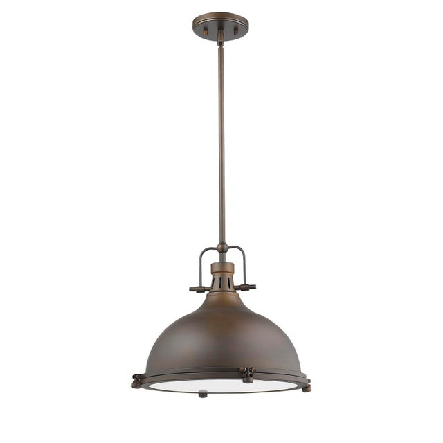 Warehouse 1 Light Pendant, Oiled Bronze For Sale - Image 9 of 10