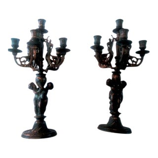 French Louis XV Style 19th Century Bronze 6 Arm Cherub Candelabras - A Pair For Sale