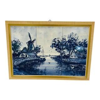 Mid Century Framed Blue and White Dutch Scene Tile Art For Sale