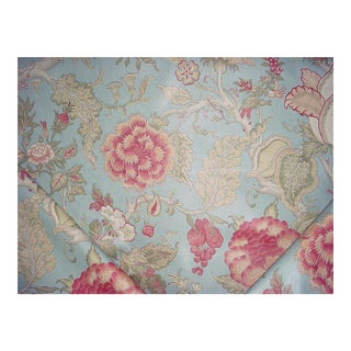 Lee Jofa Darwen Print Pink Lake Printed Cotton Upholstery Fabric - 15 3/8 Yards For Sale