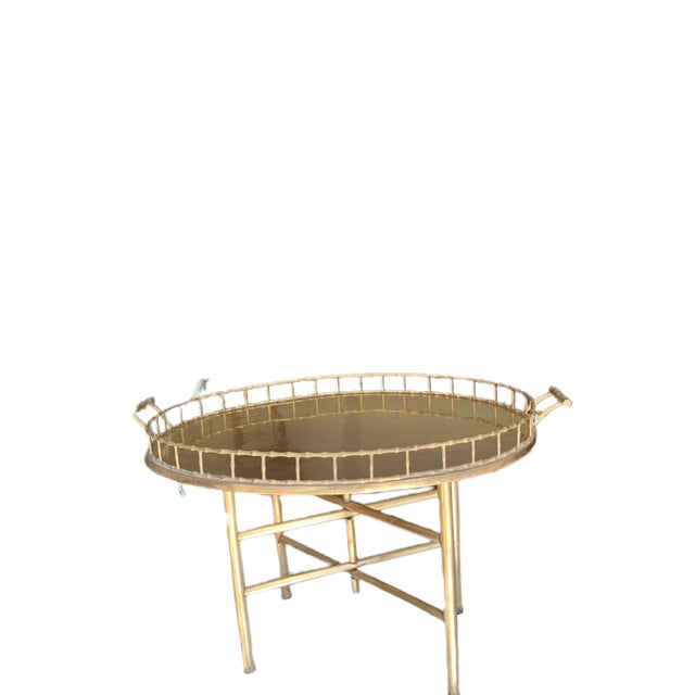 Antique Brass Tray With Stand For Sale - Image 4 of 7