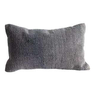 Vintage Rug Lumbar Pillow in Faded Indigo For Sale