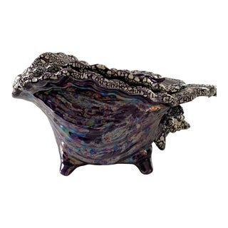 Vintage Atlantic Mold Iridescent Purple Conch Shell Planter For Sale