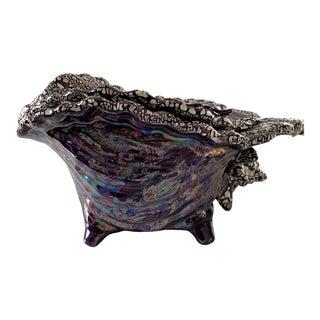 Vintage Atlantic Mold Iridescent Purple Conch Shell Planter For Sale