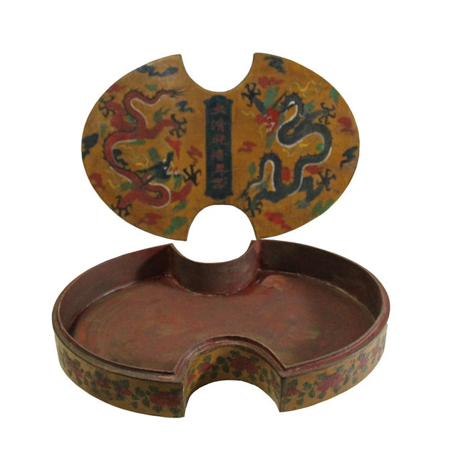 Asian Chinese Distressed Yellow Lacquer Oval Dragons Graphic Box For Sale - Image 3 of 7