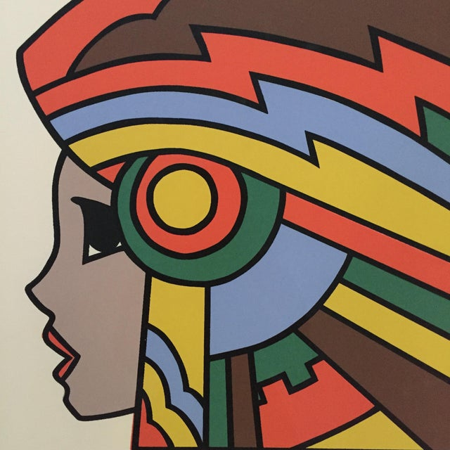 """Drawing/Sketching Materials 1977 Graphic Silkscreen Signed Yamada """"Girl With Headdress"""" For Sale - Image 7 of 8"""