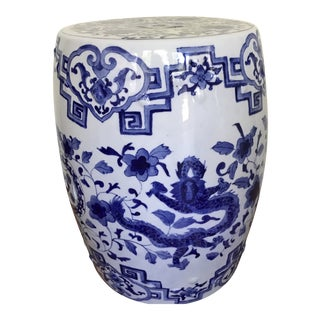 Chinese Blue & White Porcelain Garden Seat For Sale