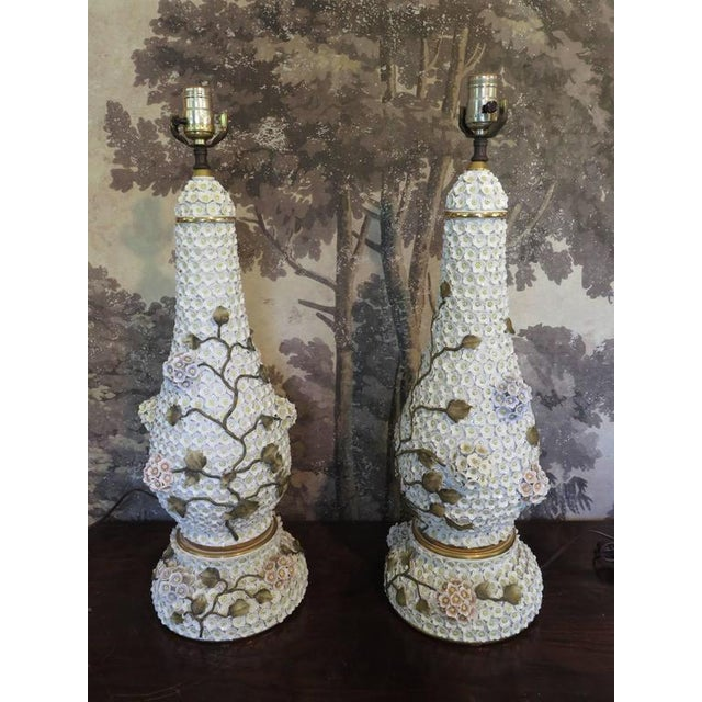 Neoclassical German Schneeballen Porcelain Covered Lamps - a Pair For Sale - Image 3 of 11