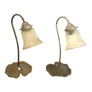 Brass Art Deco Style Lily Pad Table Lamps - a Pair For Sale