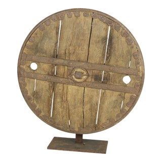 Oak And Iron Wheel, Circa 1700 On Later Iron Stand For Sale