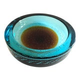 Image of Murano Glass Round Bowl, Teal Blue & Cognac Color, Italy 1960's For Sale