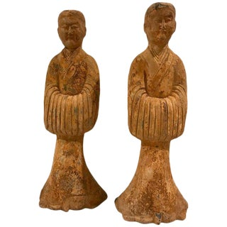 Pair of Tang Style Terracotta Tomb Attendants For Sale