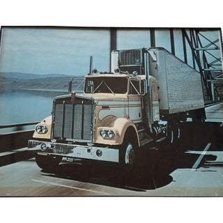 Original 1970s Kenworth W900 Tractor Trailer Framed Photograph For Sale