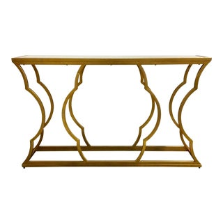 Modern Gold Metal and Beveled Mirror Console Table For Sale