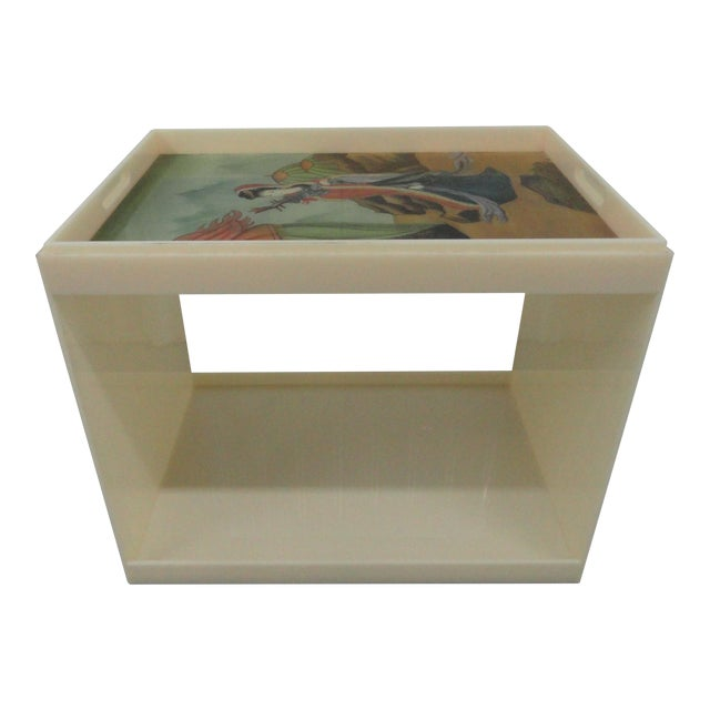 Custom Acrylic Table With Tray Top With Reverse Glass Painted Art For Sale