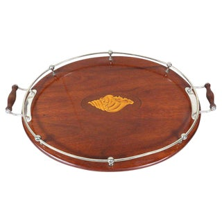 Sheffield & Mahogany Inlaid Serving Tray For Sale