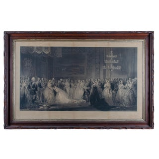 Mid 19th Century Antique Queen Victoria Drawing Room at St. James's Palace Engraving Print For Sale