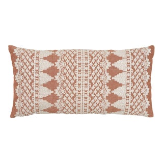 Schumacher Wentworth Embroidery Pillow in Rust For Sale
