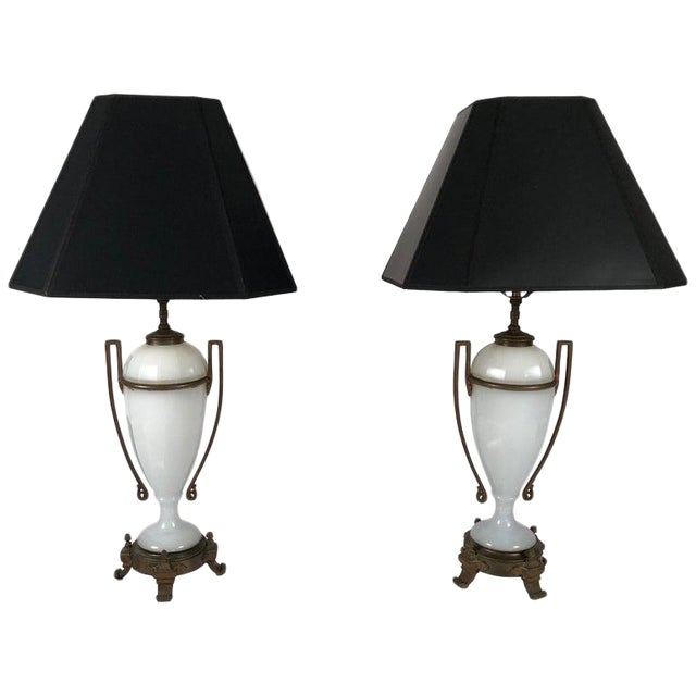 Louis XVI Style Neoclassical White Opaline Glass and Ormolu Lamps - a Pair For Sale