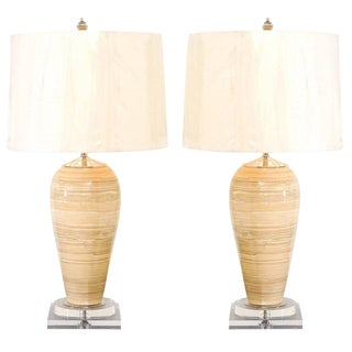 Elegant Pair of Vintage Bamboo Vessels as Custom Lamps For Sale