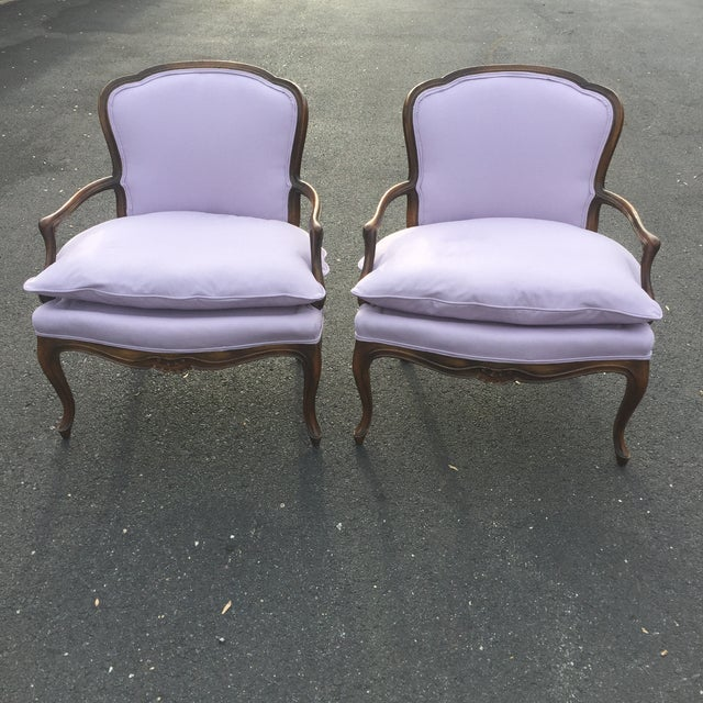 French Vintage French Louis XVI Fauteuil Bergere Chairs - A Pair For Sale - Image 3 of 9