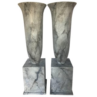 Grand Faux Marble Urn Vessels - a Pair For Sale