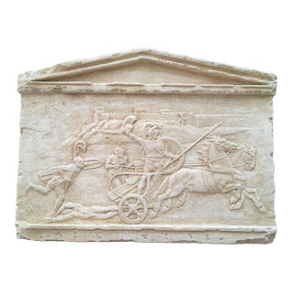 Plaster Warrior in Chariot Sculpture For Sale