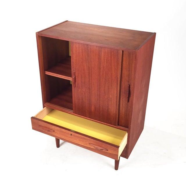 Mid-Century Modern Vintage Teak Cabinet With Sliding Doors For Sale - Image 3 of 6