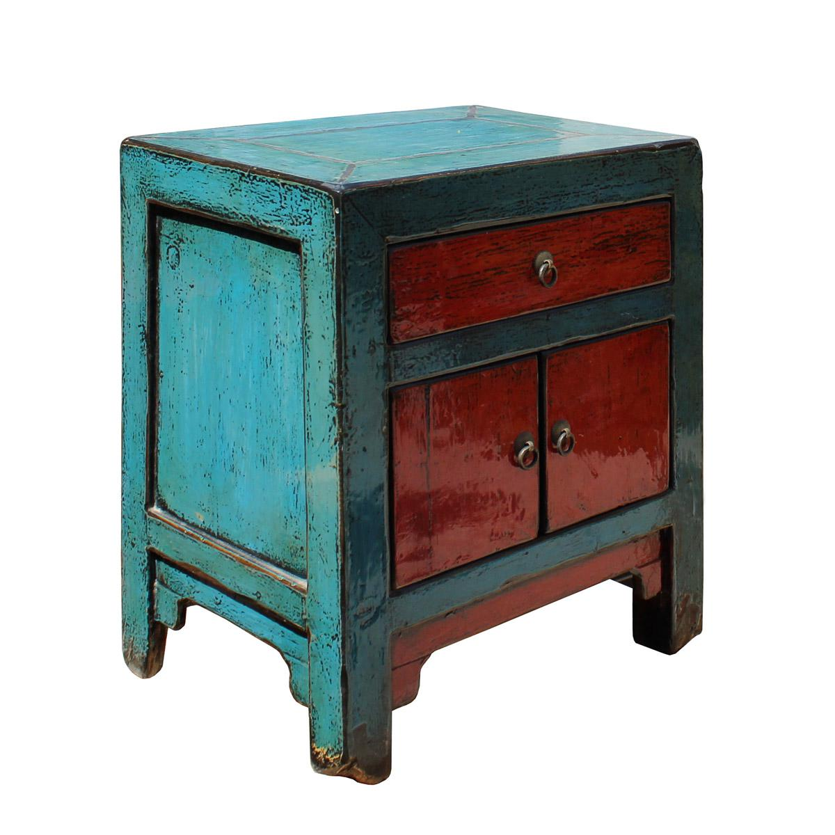 Asian Style Blue Red Lacquer End TableNightstand Chairish