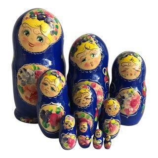 1990s Folk Art Russian Matryoshka Babushka Nesting Dolls - Set of 10 For Sale