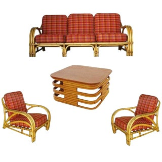 """Rare Midcentury """"1940s Transition"""" Rattan and Mahogany Living Room Set For Sale"""