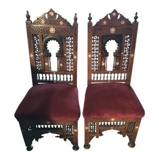 Late 19th Century Vintage Moroccan Chairs - a Pair For Sale