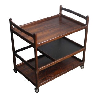 Johannes Andersen Rosewood Mid-Century Bar Cart For Sale