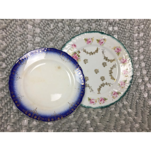 Shabby Chic Mismatched Floral China Plates- Set of 4 For Sale - Image 10 of 13