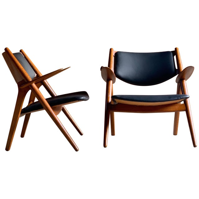 Hans Wegner Sawbuck Chairs Model CH-28 by Carl Hansen 1950s - A Pair For Sale - Image 13 of 13