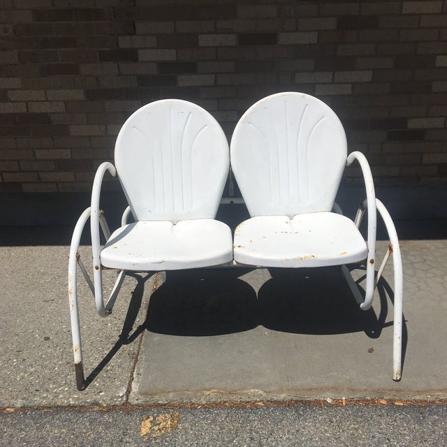 Metal Vintage 1950's Bellaire Outdoor Metal Double Glider For Sale - Image 7 of 7